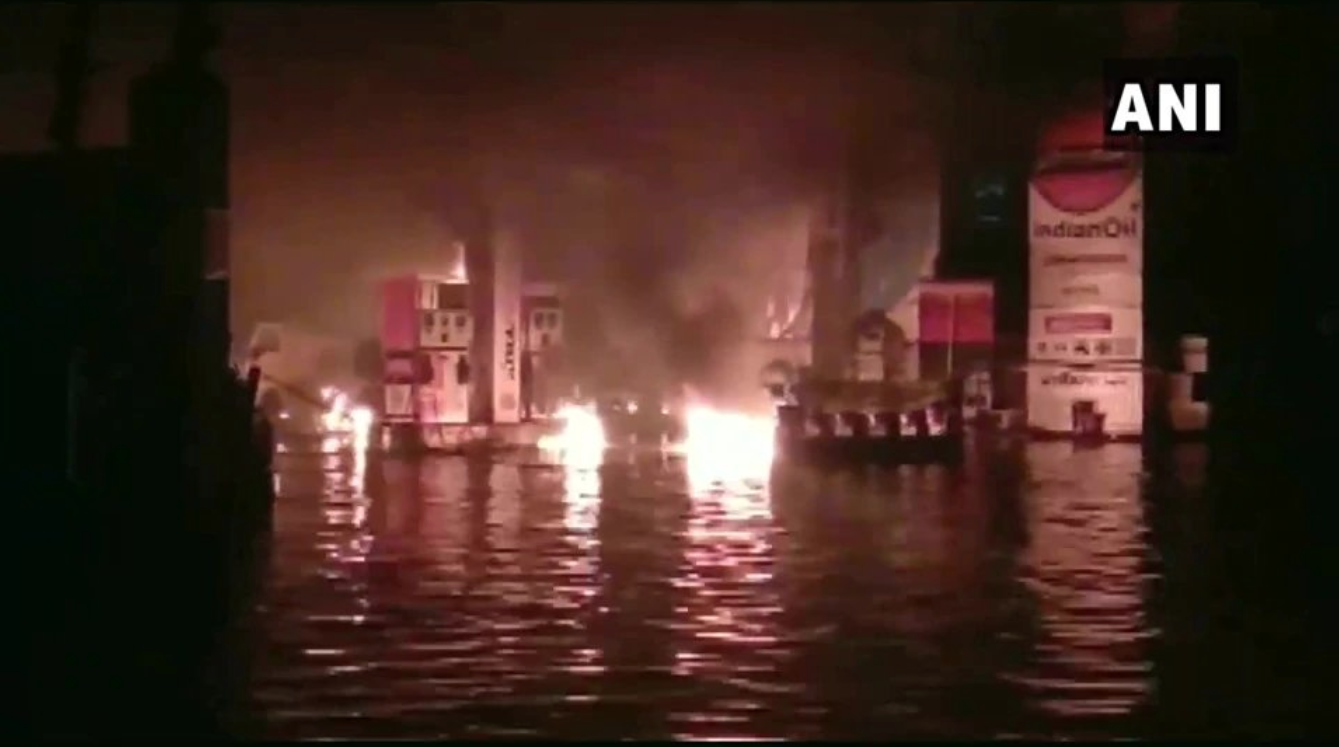 Watch: Fire Breaks Out at Waterlogged Petrol Pump in Patna