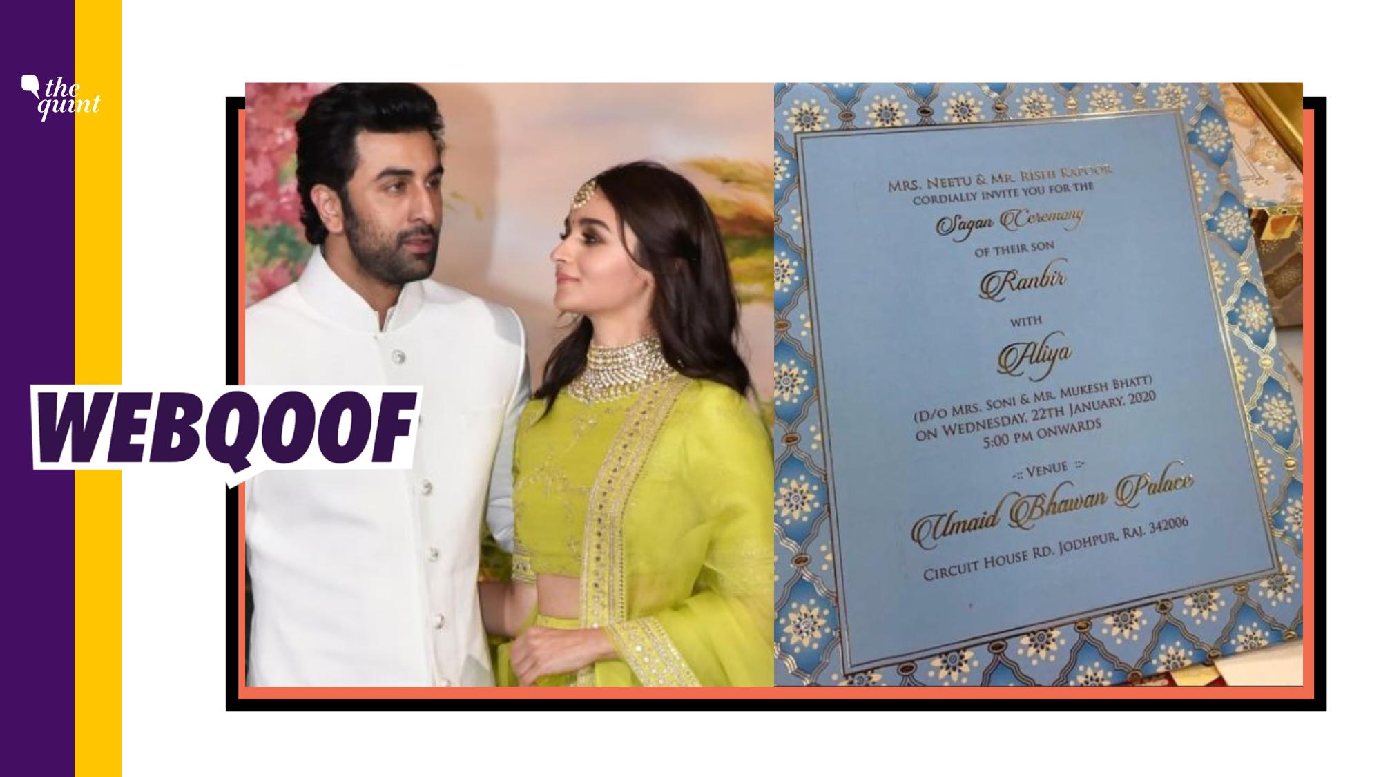 Ranbir and Alia Tying the Knot on 22 January 2020? It's Fake News