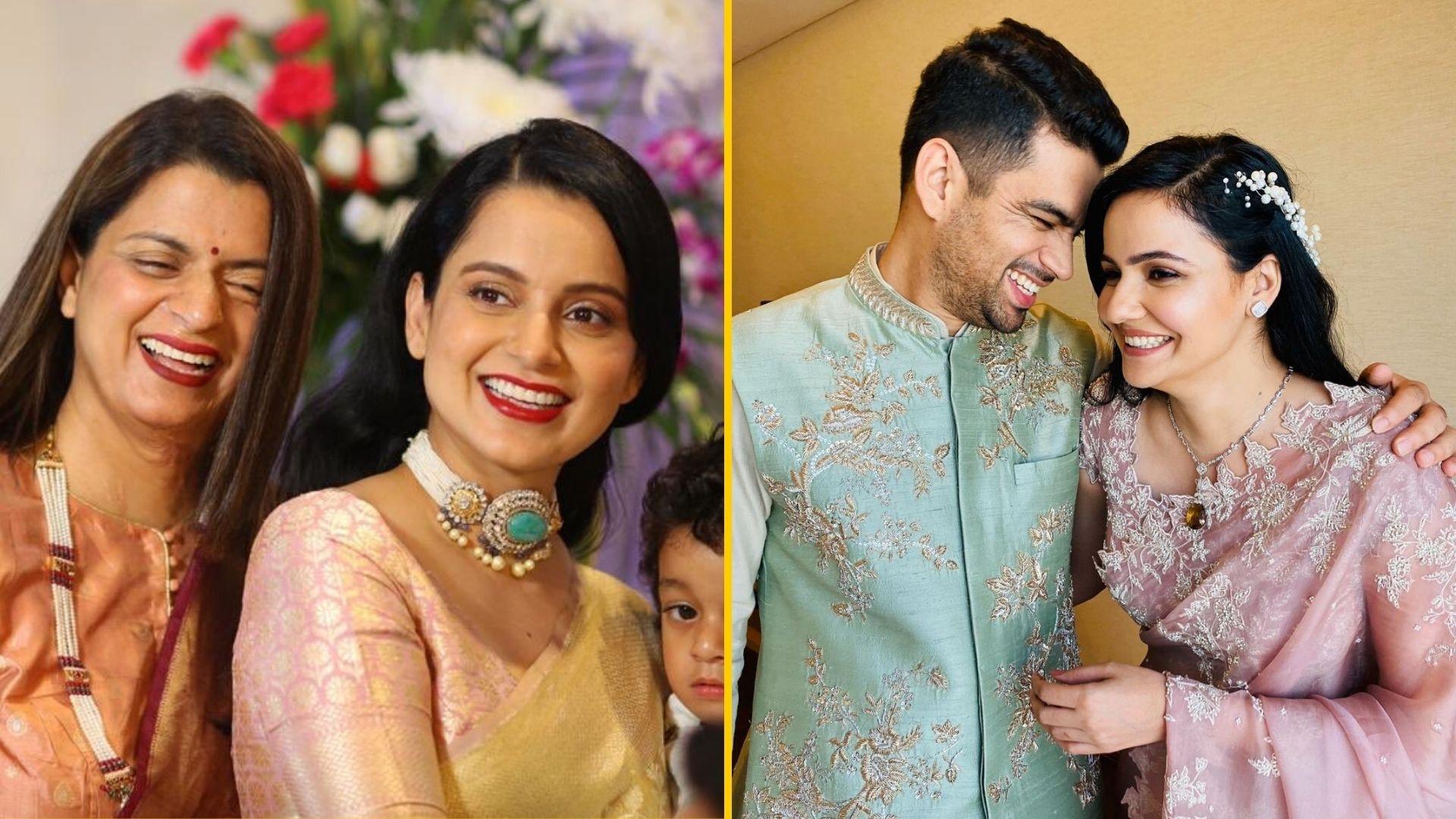 Pics: Kangana Ranaut, Rangoli Celebrate Brother's Engagement