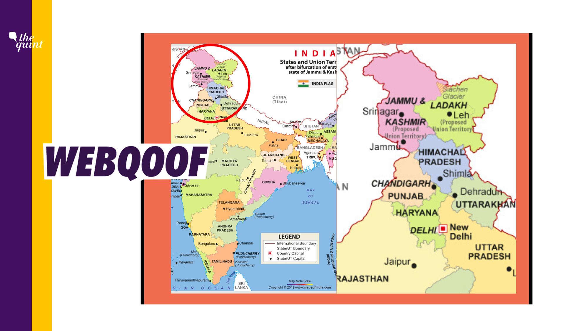 Viral Photo of Map of India Shows Wrong Boundaries of J&K, Ladakh