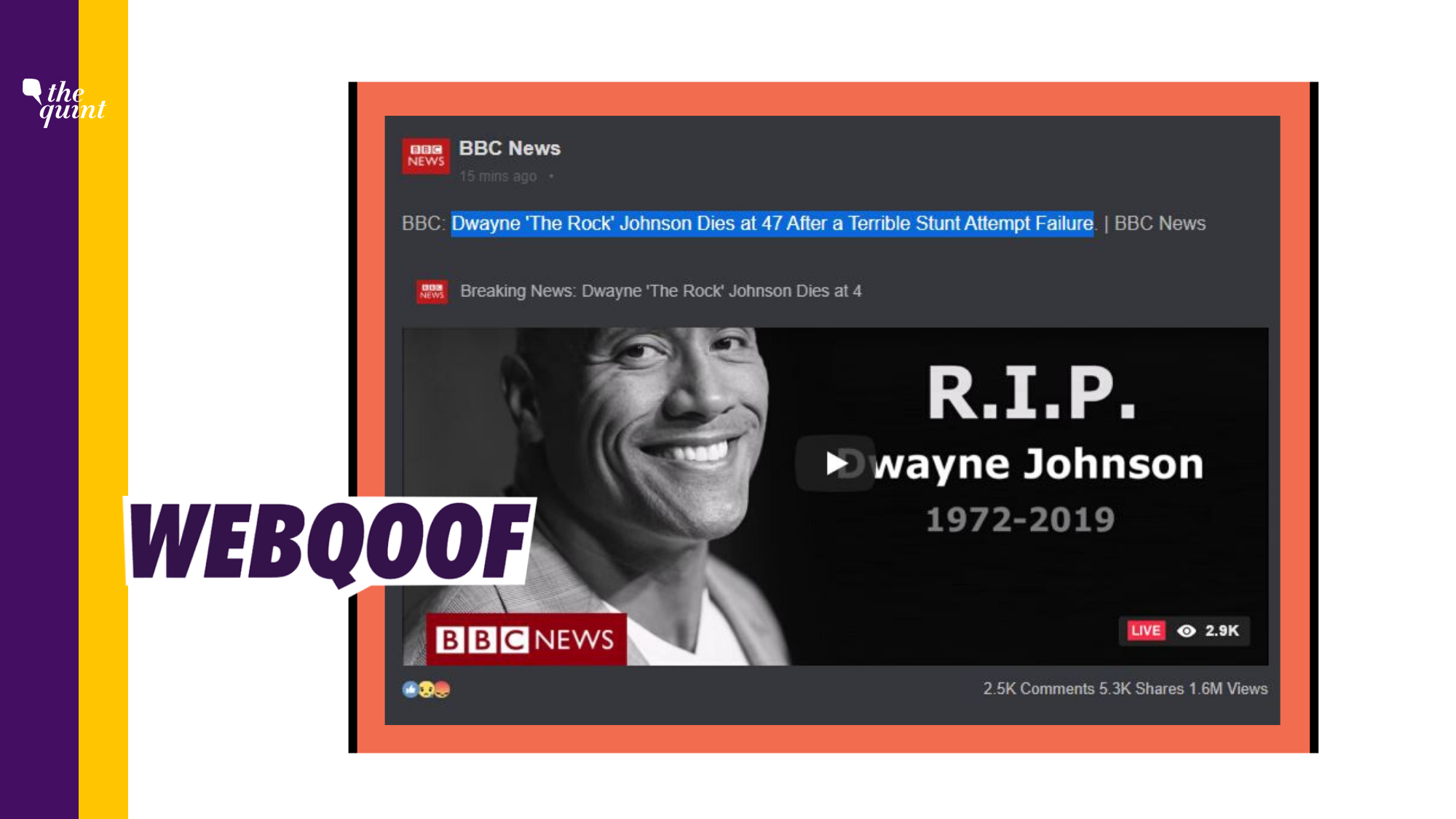 Hoax Website Falsely Claims Dwayne Johnson is Dead