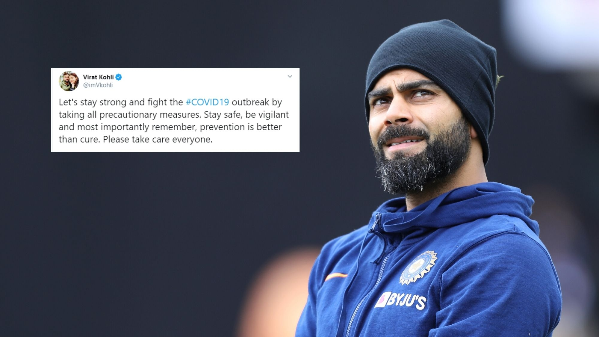 let u2019s stay strong and fight coronavirus outbreak  virat