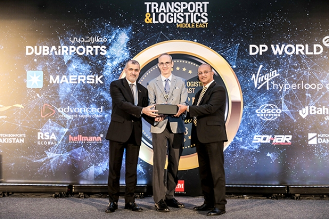 <em>Ramzi Al Zerouni (left), General Manager – Administration, Government & Business Affairs, and Paul Rehmet, Chief Product Officer (center), accept the Logistics Technology Platform of the Year award from Jude Fernandes, Head of Cargo Business Planning, Dubai Airports (right).</em>