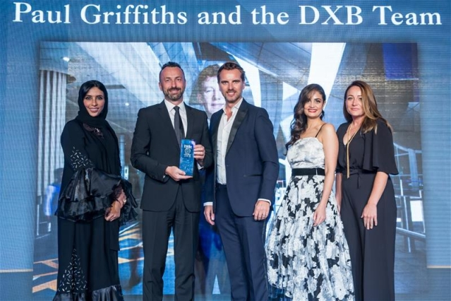 Accepting the award on behalf of Dubai Airports CEO Paul Griffiths, was Eugene Barry (second from left), EVP Commercial, the department behind the new brand, and several exciting changes being unveiled at DXB.