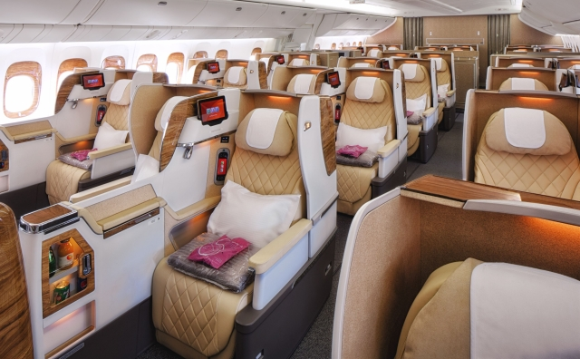 The newly reconfigured Boeing 777-200LR aircraft feature wider Business Class seats in a 2-2-2 format
