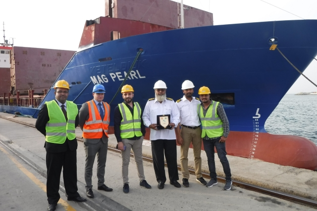 To mark the occasion in traditional fashion, Stephen Barron, SCT Terminal Manager,  presented a commemorative shield to the Vessel Master of the M.V. MAG Pearl in the presence of senior management from Gulftainer.