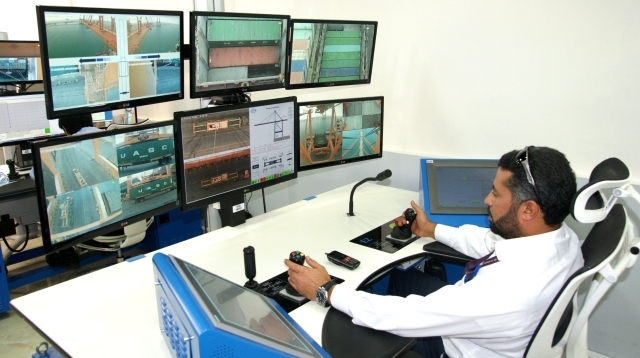 Operator Abdul Hameed remotely handling container movements at Hutchison Ports Dammam.