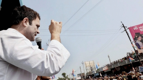 Rahul Gandhi during Mp rally