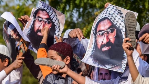 Masood Azhar's photo in a protest