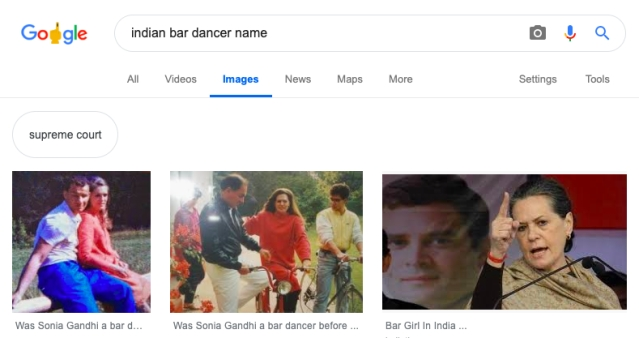 Google Search Result for Sonia Gandhi