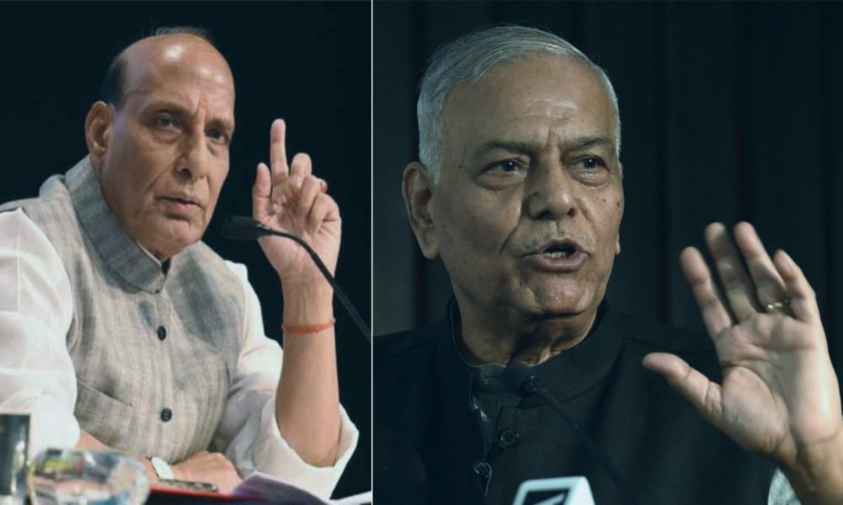 लखनऊ में राजनाथ सिंह के खिलाफ, पूनम सिन्हा का प्रचार कर रहे बागी बीजेपी नेता यशवंत सिन्हा