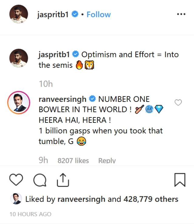 Ranveer Singh comments on Jashprit Bumrah