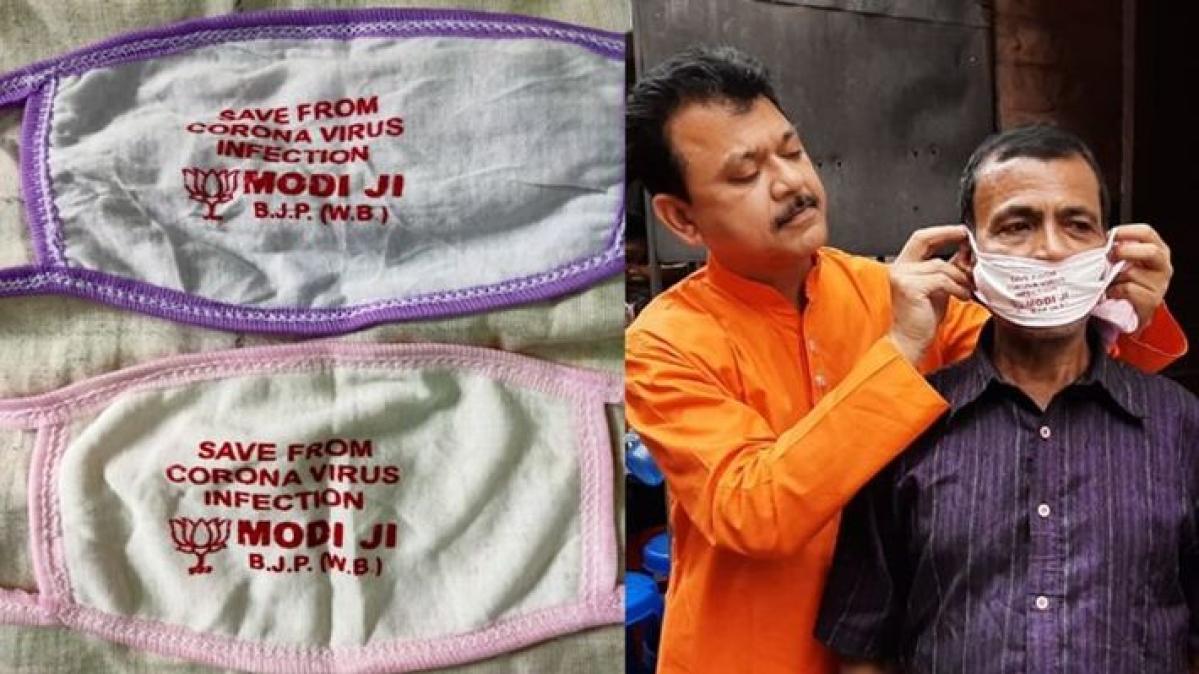Bengal BJP is Distributing Modi Mask to Protect from Coronavirus