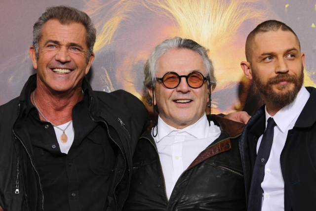 George Miller (middle) with Tom Hardy (Right) and Mel Gibson