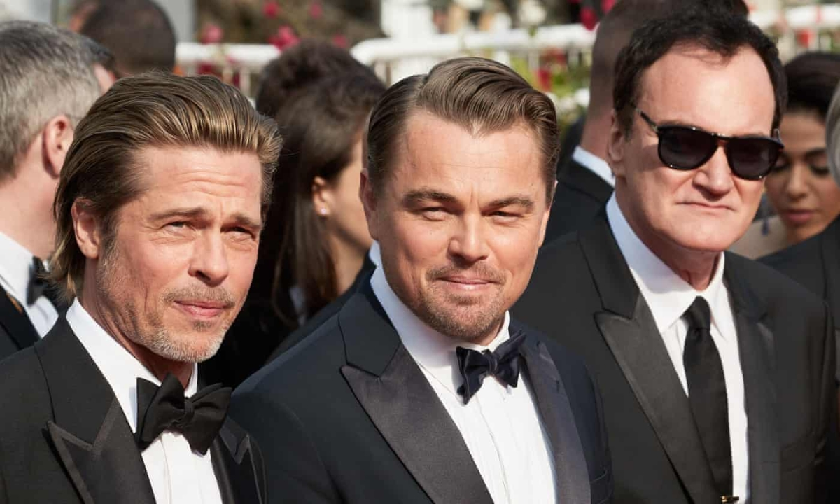 Tarantino with Brad Pitt and Leonardo Dicaprio