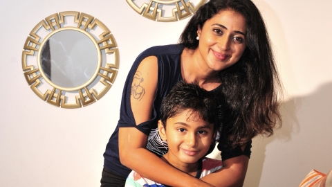 Actress Kanika with her son