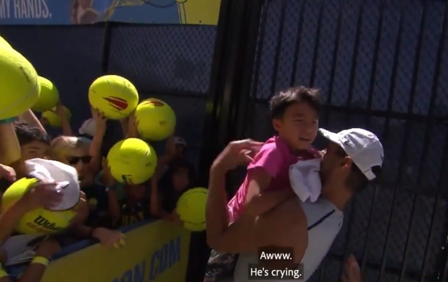 Rafael Nadal with child