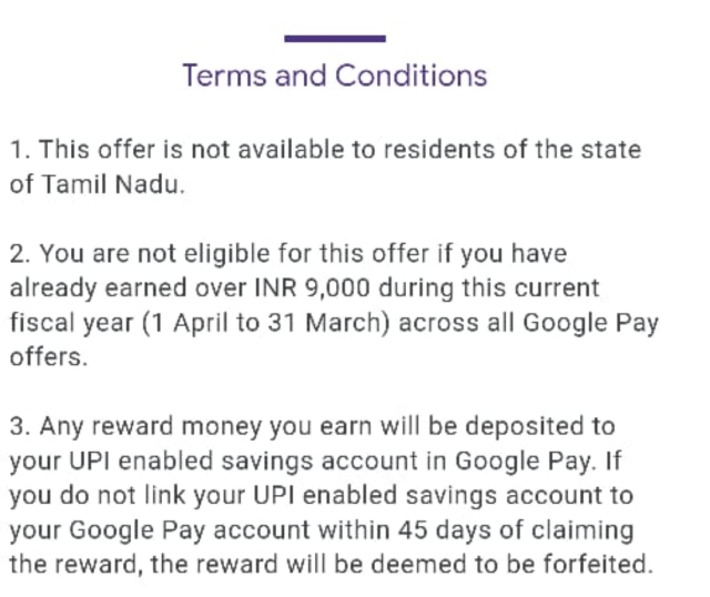 Terms and Conditions Google Pay