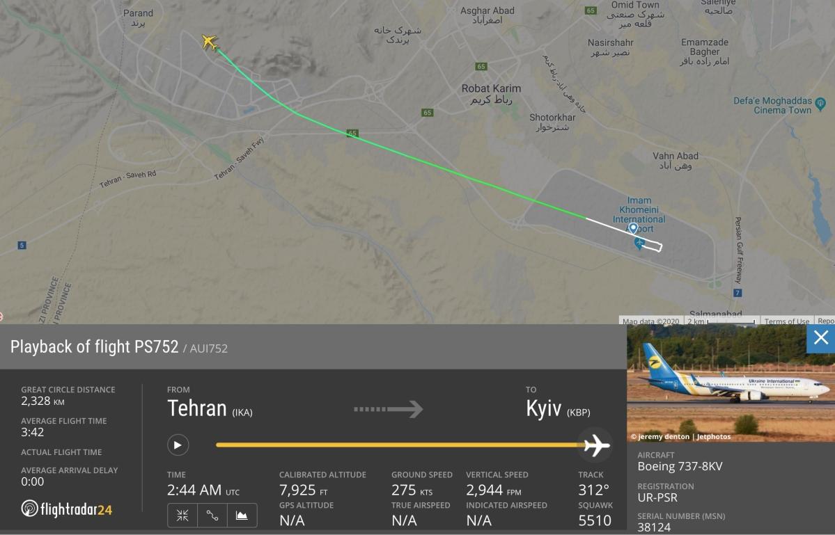 Playback of flight PS752 / AUI752