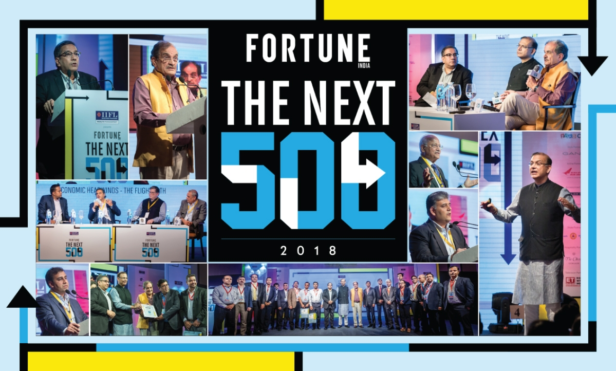 Recognising India's largest midsize companies at the Fortune India Next 500 summit.